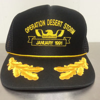 Vintage 90's Operation Desert Storm January 1991 Snapback Mesh Trucker Dad Hat Military Marines Army Made In USA