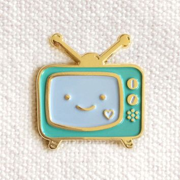 TV Binge Watcher Enamel Pin in Blue and Gold