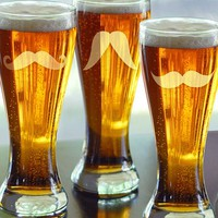 Cathy's Concepts Mustache Pilsner Glasses (Set of 4)