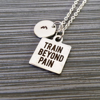 Stainless Steel Train Beyond Pain Necklace - Weight Lifting Necklace - Fitness Necklace - Gym Necklace - Crossfit Necklace