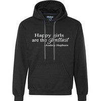 Happy Girls are the Prettiest - Audrey Hepburn Quote - 8.5 oz. Premium Ringspun Cotton Hooded Sweatshirt