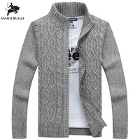 SAMHIBUGLE Brand Man Sweater Casual Men cardigan thick cashmere sweater outerwear winter Gray Blue