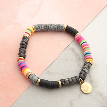 Rubber and stone disc beads Bracelet
