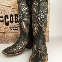 Corral Black Silver Gold Wing & Cross Square Toe Boots A1986