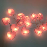20 Lighting Pink heart colors Spring Paper String Lights Ideal for Christmas Lights, Party Lighting, Bedroom Decor