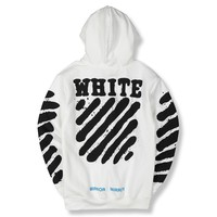 OFF-WHITE tiger print ink and thick fur hooded hooded WHITE couple popular logo hoodies