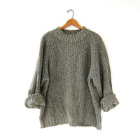 vintage speckled green sweater. chunky knit sweater. loose knit sweater. heavy knit sweater. boyfriend pullover sweater.