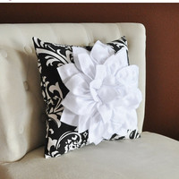MOTHERS DAY SALE White Dahlia Flower on Black and White Damask Pillow, Accent Pillow, Throw Pillow, Toss Pillow, Decorative Pillow