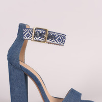 Liliana Denim Aztec Accent Ankle Strap Chunky Heel