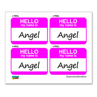 Angel Hello My Name Is - Sheet of 4 Stickers