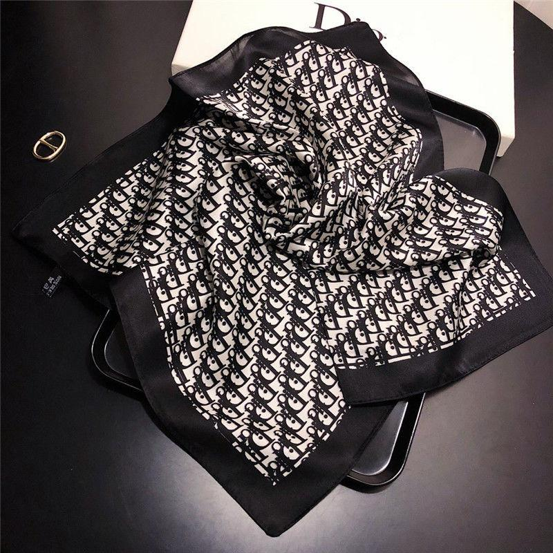 Image of Dior Fashion Letter Silk Scarf Small Square Scarf Mulberry Silk Ladies Scarf Ladies Workwear Professional Tie