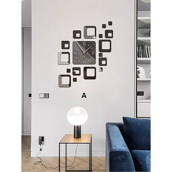 1set Geometric Mirror Surface Wall Clock