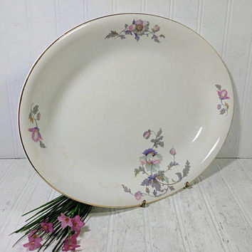 """Large Serving Platter American Chinaware Ivory with Pink & Purple Poppies Pattern Shabby Chic Extra Large 15"""" China Oval Serving Dish Plate"""