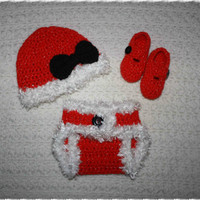 Sparkle Christmas Baby Girls Santa Outfit Diaper cover, Hat and Booties