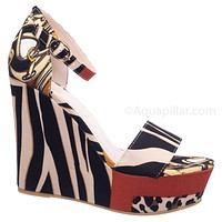 Choice64  Baroque Print Platform Wedge Sandal - Womens Glamorous Open Toe Shoe