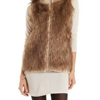 Brown Combo Faux Fur Sweater Vest by Charlotte Russe