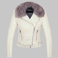 Hot Women Winter Warm Faux Leather Jackets with Fur Collar Lady White Black Pink Motorcycle & Biker Outerwear Coats