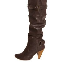 Slouchy Belted High Heel Over-the-Knee Boots - Brown