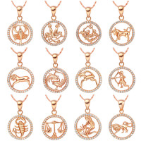 Necklace fashion jewelry silver  rose gold Plated female Twelve constellations crystal pendants Zodiac Necklaces for women