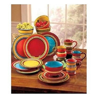 Dinnerware Set Colorful Striped Banded Geometric 16 Piece Earthenware Stoneware