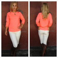 Neon Coral Eyelet Sweater