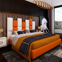 Luxurious Post-Modern Leather Bed Metal Double Bed Storage