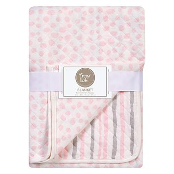 Baby Swaddle Blanket  - Pink and Gray Cloud Knitted Baby Blanket