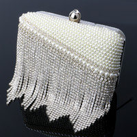 mitation pearl women bags clutch evening bags tassel fashion ladies diamonds beaded evening bags for birthday gift purse