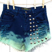 cool acid washed dip dyed high waisted shorts with big studs