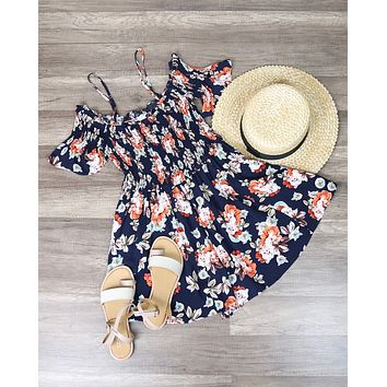 Final Sale - Smocked cCold Shoulder Romper in Navy Floral Print
