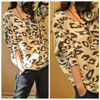 New Women's Animal Leopard Print Batwing Long Sleeve Sweater Loose Pullover Jumper VVF (Color: Leopard)