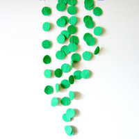 Green Circle Felt Garland - home decor, felt bunting, green garland banner, birthday decorations