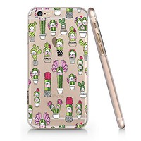 Cactus Pattern Clear Transparent Plastic Phone Case for Iphone 6 6s