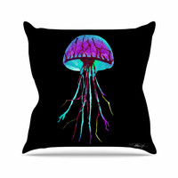 "Ivan Joh ""Night Of Jellyfish"" Black Purple Throw Pillow"