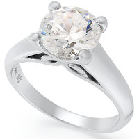 X3 Certified Diamond Solitaire Engagement Ring in 18k White Gold