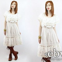 Vintage 70s White Crochet Dress S M L Hippie Wedding Dress Hippy Wedding Dress Boho Wedding Dress White Dress Summer Dress Mexican Dress