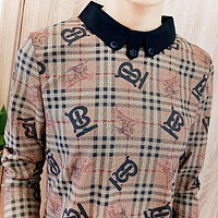 Burberry Fashion New More Letter War Horse Women Long Sleeve Top