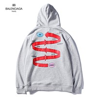 Balenciaga 2018 new men's embroidered pullover hooded padded sweater F-A-KSFZ Grey