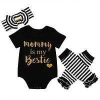 born baby girls clothing sets Baby Girls Christmas Clothes Romper+Leg Warmer +Headband Outfit