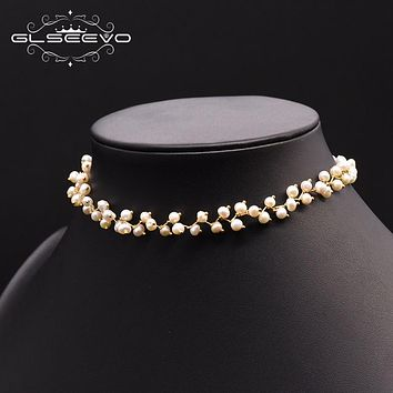 Natural Semi-Baroque Pearl Double Layer Choker Necklace