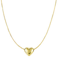 14K Yellow Gold Sliding Puffed Heart Pendant On 18 Inch Necklace