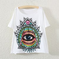Women Batwing Short Sleeve Eye Graphic Print T Shirt Tee Tops (Color: White) = 1946437700