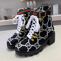 GUCCI New Plush Embroidered Letters Ladies High-Top Boots Shoes