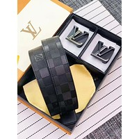 Louis Vuitton LV Fashion New Double Buckle Tartan Leather Women Men Leisure Belt