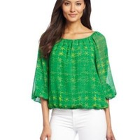 Chaus Women's 3/4 Sleeve Ethnic Geo Peasant Blouse