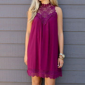 Catching Fireflies Orchid High Neck Trapeze Dress With Crochet Lace Detailing