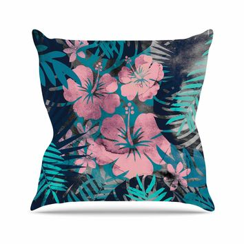 "Cafelab ""Tropical Style"" Green Pink Illustration Throw Pillow"