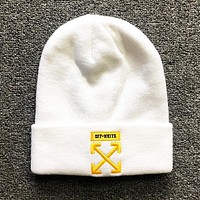 Off White New fashion embroidery arrow couple cap hat White