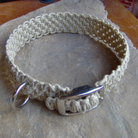 Hemp Dog Collar  Macrame Dog Collar  Natural by KnottyandNiceHemp
