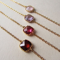 Personalized Bracelets, Choose your color-Garnet, Ruby, Lavender, Ice Pink connectors on a gold plated chain, Bridesmaids